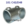 Interclamp 101R Reducing Short Tee Tube Clamp Fitting - Alternative Angle 1