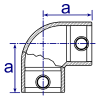 Interclamp 125 Two Way Elbow Tube Clamp Fitting - Technical Drawing 2