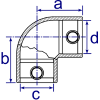 Interclamp 125R Reducing Two Way Elbow Tube Clamp Fitting - Technical Drawing 1