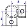Interclamp 128 Three Way Elbow Tube Clamp Fitting - Technical Drawing