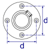 Interclamp 131 Wall Flange Tube Clamp Fitting - Technical Drawing 2