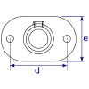 Interclamp 132 Railing Base Flange Tube Clamp Fitting - Technical Drawing 2