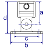 Interclamp 169 Swivel Base Flange Tube Clamp Fitting - Technical Drawing 1