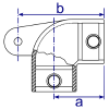 Interclamp 175M Swivel Elbow Male Part Tube Clamp Fitting - Technical Drawing