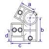 Interclamp 185 Eaves Fitting (27½°) Tube Clamp Fitting - Technical Drawing 2