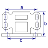 Interclamp 242 Base Flange with Toe Board Adapter Tube Clamp Fitting - Technical Drawing 1