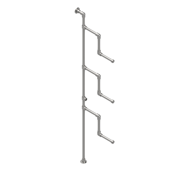 Interclamp Garment Rack - 3 Bent Arms (Floor and Wall Mounted)